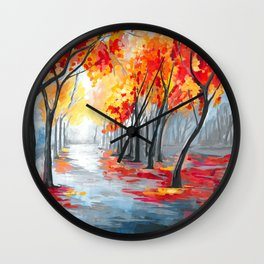 Fall / Autumn Landscape - Rainy Tree, Changing Leaves Painting Wall Clock