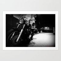 motorcycle Art Prints featuring Motorcycle by Reggie Thomas II Photos