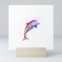 Dolphin Sea Life Watercolor Art Mini Art Print