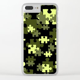 Puzzle preen yellow black Design Clear iPhone Case