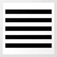Black White Stripe Art Print