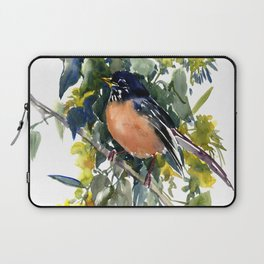 American Robin on Linden Tree, Deep blue Cottage Woodland style design Laptop Sleeve