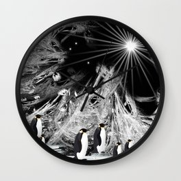 Penguins in ice-cold Night Wall Clock