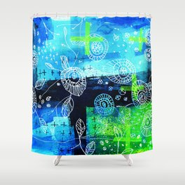 Blooms + Crosses Shower Curtain