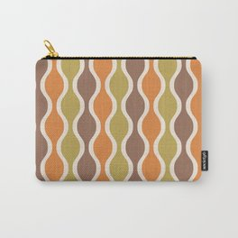 Classic Retro Ogee Pattern 846 Orange Brown and Olive Carry-All Pouch