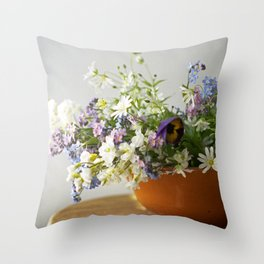 Spring floral composition - floral photography Throw Pillow