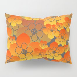 Flower Blossoms Design - yellow orange grey Pillow Sham