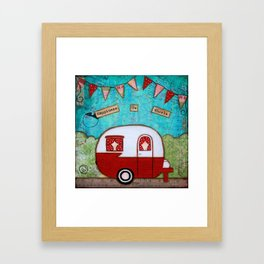 Vintage Camper Red Framed Art Print