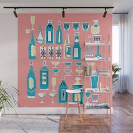 Cocktails And Drinks In Aquas and Pinks Wall Mural