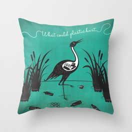 What Could Plastic Hurt? Crane by Sarah Pinc Throw Pillow
