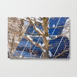 Four Seasons Photosynthesis - Winter. Oak Tree, Snow, And A Solar Power Panel Metal Print