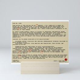 IT Manager Cover Letter Mini Art Print