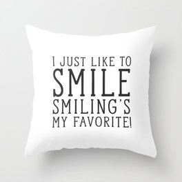 Smiling's My Favorite - Buddy The Elf, Christmas Movie Quote Throw Pillow