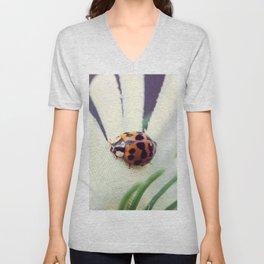 Ladybug On Flower Unisex V-Neck
