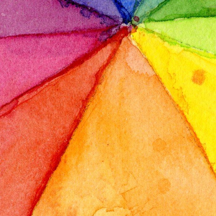 Rainbow Watercolor Geometric Pattern Leggings