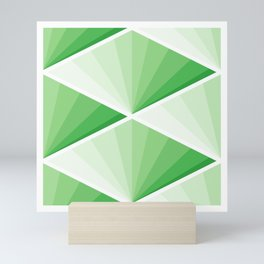 GREEN JAPAN TILE ART FANS PATTERN Mini Art Print