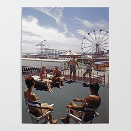 Kings Inn Hotel Sundeck on the Wildwood Boardwalk and Amusement Pier. 1960's retro photograph. Poster