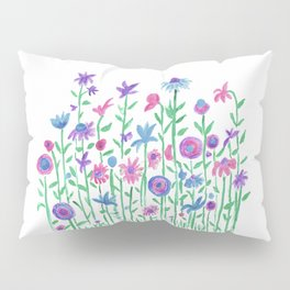 Cheerful spring flowers watercolor Pillow Sham