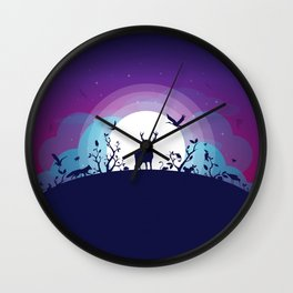 Forest Animals Gathering in the Moonlight Wall Clock