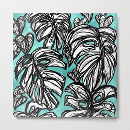 Monstera Turquoise Metal Print