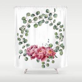 Watercolor Eucalyptus Wreath Shower Curtain