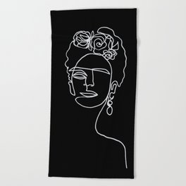 Frida Kahlo BW Beach Towel