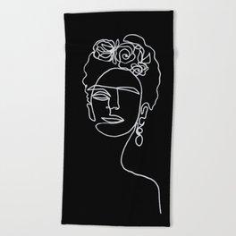 Frida Kahlo BW Beach Towel
