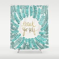 cat coquillette Shower Curtains featuring Treat Yo Self – Gold & Turquoise by Cat Coquillette