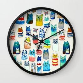 Lots of Watercolor Kitty Cats Wall Clock