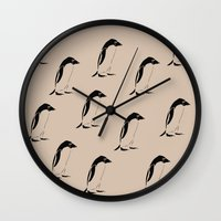 penguins Wall Clocks featuring Penguins by Zen and Chic