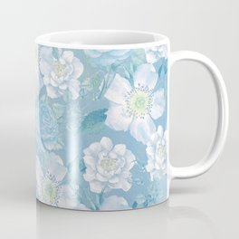 Blue Vintage Rose Pattern Coffee Mug