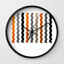 Vertical Waves - Metallic Gold, Silver and Black Vertical Wavy Stripes Wall Clock