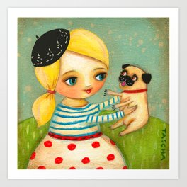 FRENCH GIRL with Fawn Pug in Paris Art Print