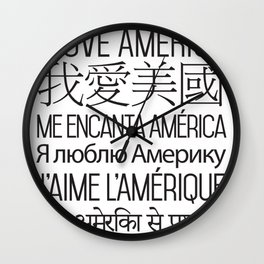 I Love America - Single Color Wall Clock