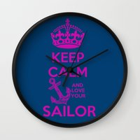 keep calm Wall Clocks featuring KEEP CALM by Lonica Photography & Poly Designs