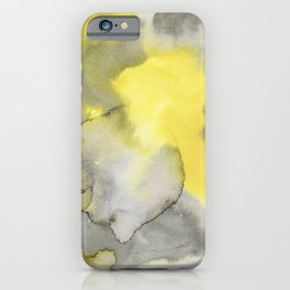 Hand painted gray yellow abstract watercolor pattern iPhone Case
