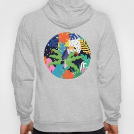 Bold Tropical Jungle Abstraction With Toucan Memphis Style Hoody