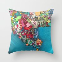 colombia Throw Pillows featuring Colombia Verde by MikAnsart