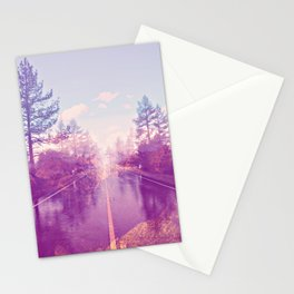 Abstract landscape road Purple Pink Color Stationery Cards