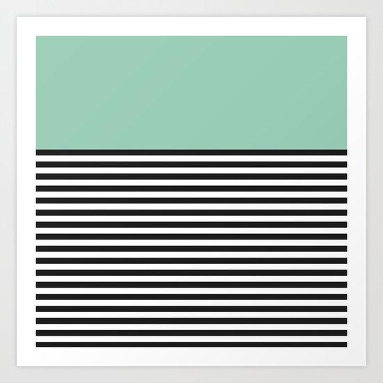 STRIPE COLORBLOCK {MUTED JADE} Art Print