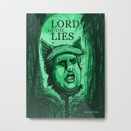 LORD OF THE LIES - DONALD TRUMP PIG HEAD (GREEN) Metal Print