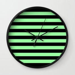 Chrysoprase and Black Stripes Wall Clock