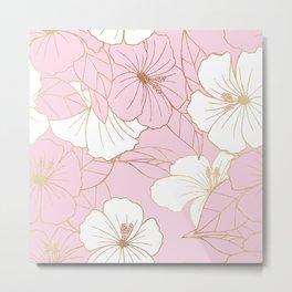 Pastel Pink & Gold Hibiscus Floral Metal Print