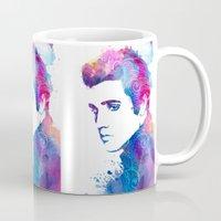 elvis presley Mugs featuring Elvis Presley by WatercolorGirlArt