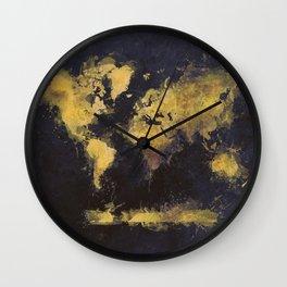 world map 65 yellow Wall Clock