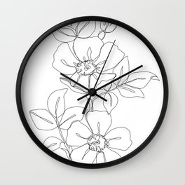 minimal style wall clocks society6 Late 1970s Decor floral one line drawing rose wall clock