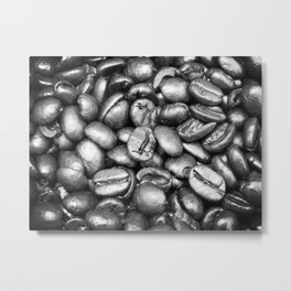 Coffee Beans! Black and White Metal Print