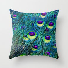 Trippy Peacock Throw Pillow