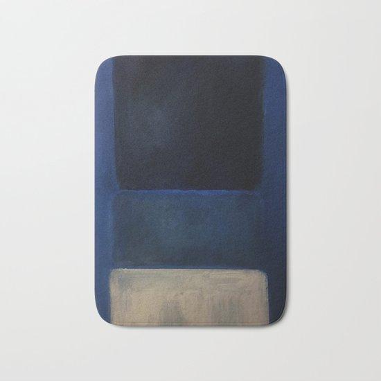 Mark Rothko Interpretation White And Greens In Blue Bath Mat