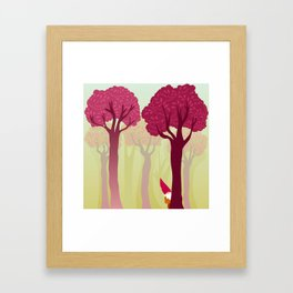 colorful forest with cute dwarf Framed Art Print